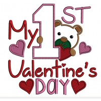 My First Valentine's Day Birthday Applique Machine Embroidery Design Digitized Pattern