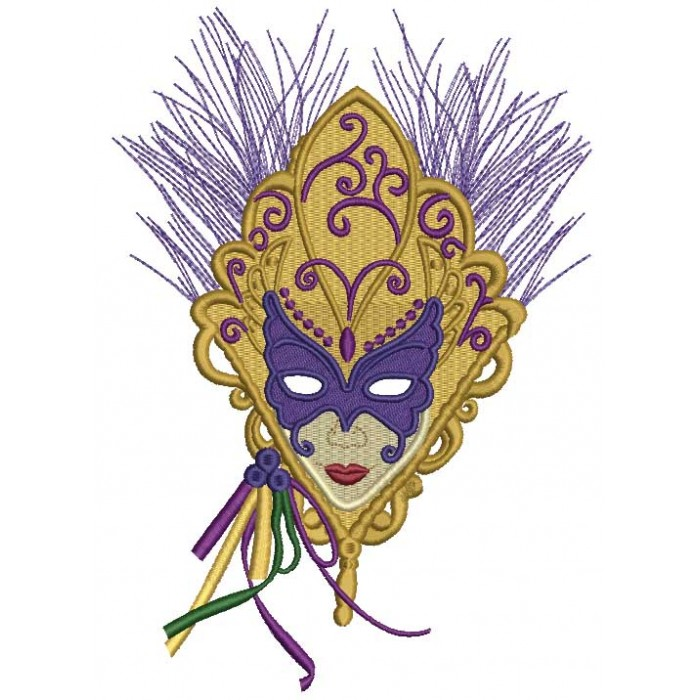 Mystery Lady Mardi Gras Mask Filled Machine Embroidery Design Digitized Pattern
