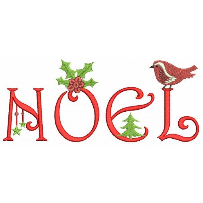 Noel Christmas Filled Machine Embroidery Design Digitized Pattern