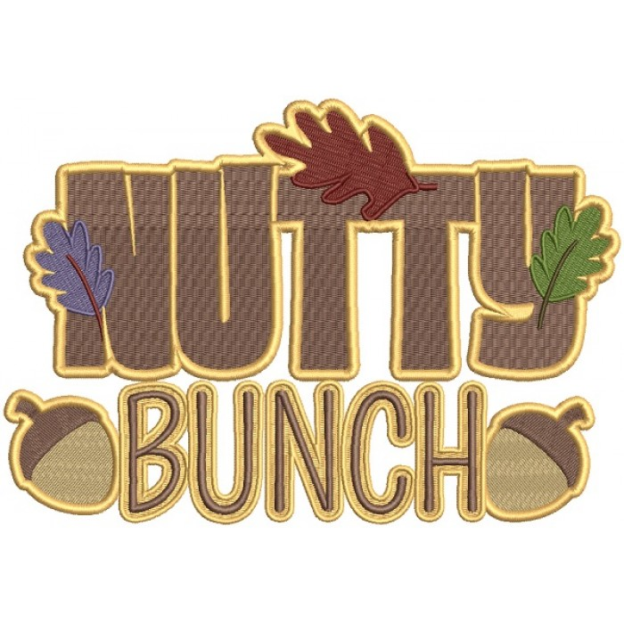 Nutty Bunch Fall Filled Thanksgiving Machine Embroidery Design Digitized Pattern