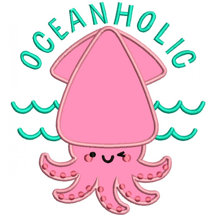 Oceanholic Squid Applique Machine Embroidery Design Digitized Pattern