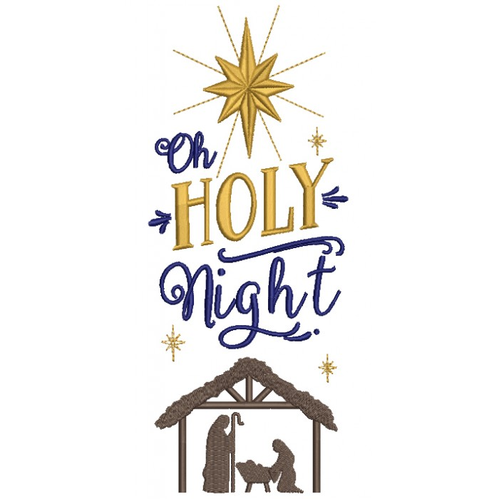 Oh Holy Night Christmas Filled Machine Embroidery Design Digitized Pattern
