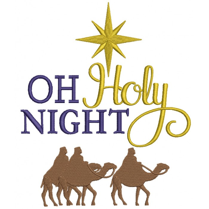 Oh Holy Night With Camels Christmas Filled Machine Embroidery Design Digitized Pattern