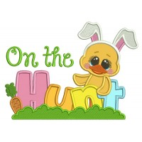 On The Hunt Easter Chick Wearing Bunny Ears Applique Machine Embroidery Design Digitized Pattern