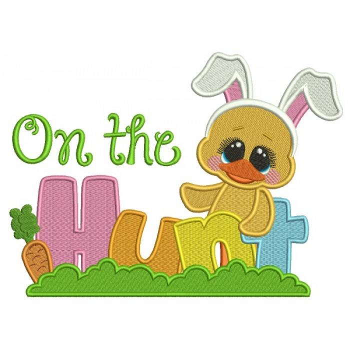 On The Hunt Easter Chick Wearing Bunny Ears Filled Machine Embroidery Design Digitized Pattern