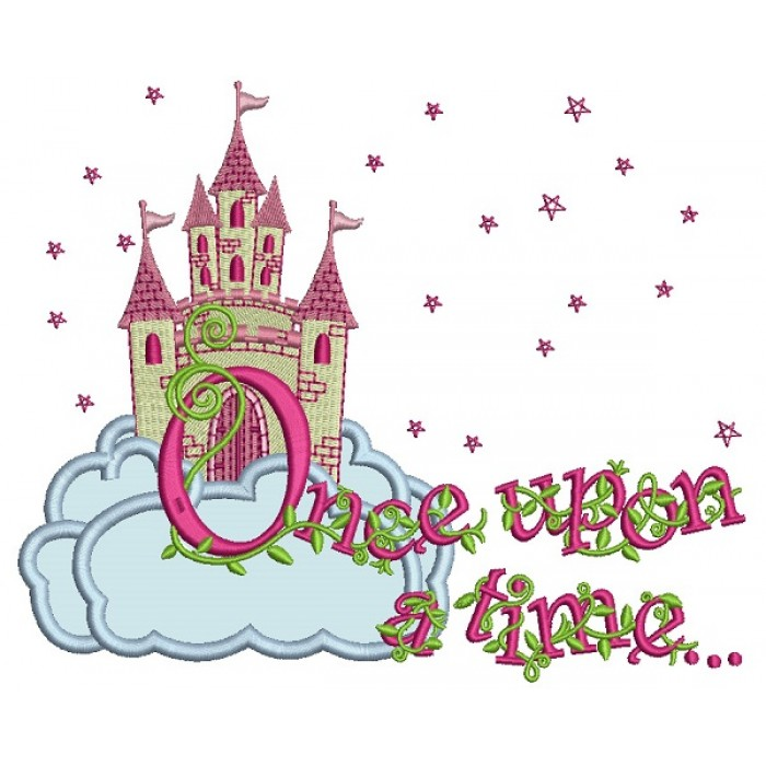 Upon A Time Princess Castle With Only Stars Applique Machine