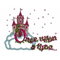 Once Upon a Time Princess Castle With Only Stars Applique Machine Embroidery Design Digitized Pattern