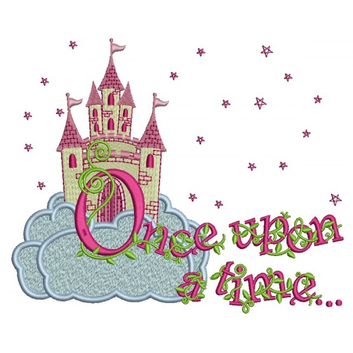 Once Upon a Time Princess Castle With Only Stars Filled Machine Embroidery Design Digitized Pattern