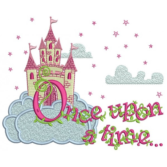 Once Upon a Time Fairy Tale Castle Filled Machine Embroidery Design Digitized Pattern