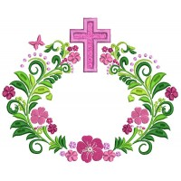 Ornate Cross With Flowers Religious Applique Machine Embroidery Design Digitized Pattern