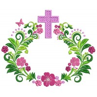 Ornate Cross With Flowers Religious Filled Machine Embroidery Design Digitized Pattern