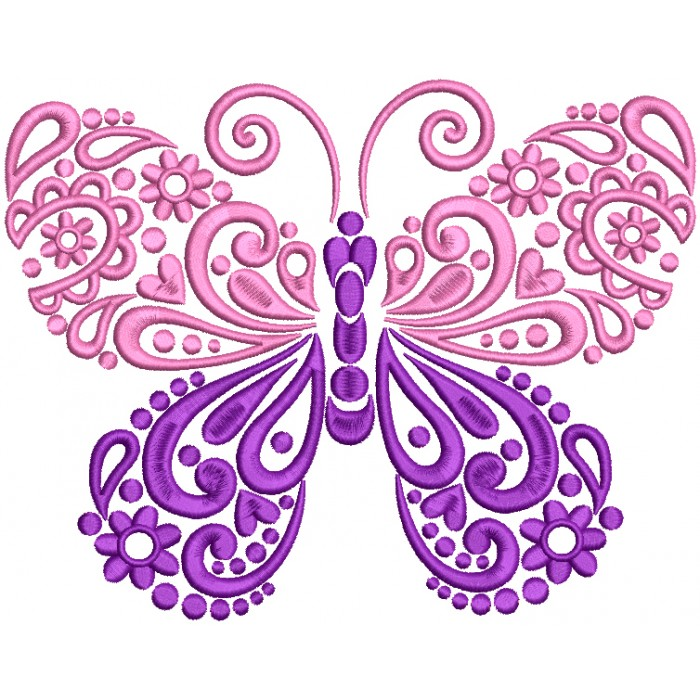 Ornate Buttefly Filled Machine Embroidery Design Digitized Pattern
