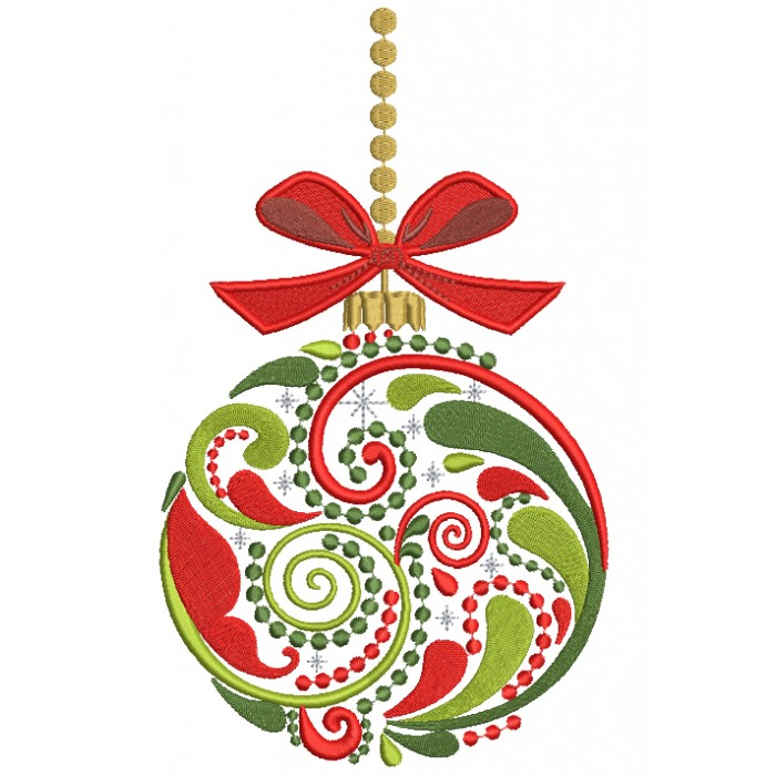 Ornate Christmas Ornament Filled Machine Embroidery Design Digitized Pattern