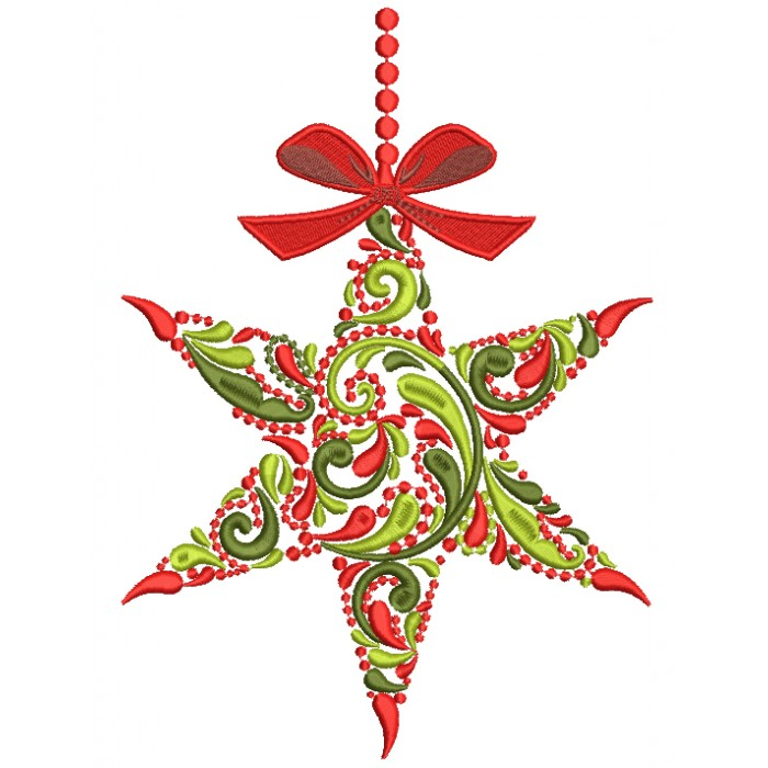 Ornate Christmas Star Filled Machine Embroidery Design Digitized Pattern