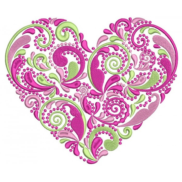 Ornate Heart Love Filled Machine Embroidery Design Digitized Pattern
