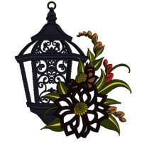 Ornate Lantern With Flowers Applique Machine Embroidery Design Digitized Pattern