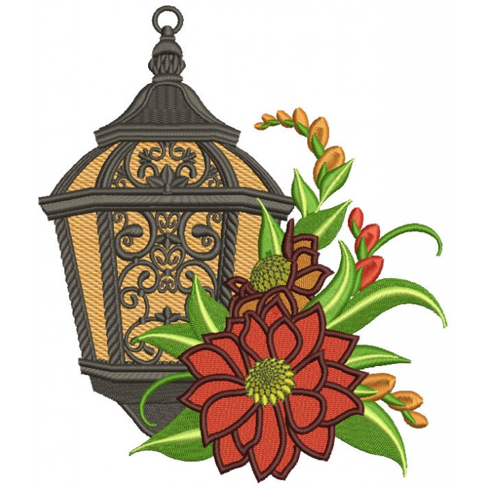 Ornate Lantern With Flowers Filled Machine Embroidery Design Digitized Pattern