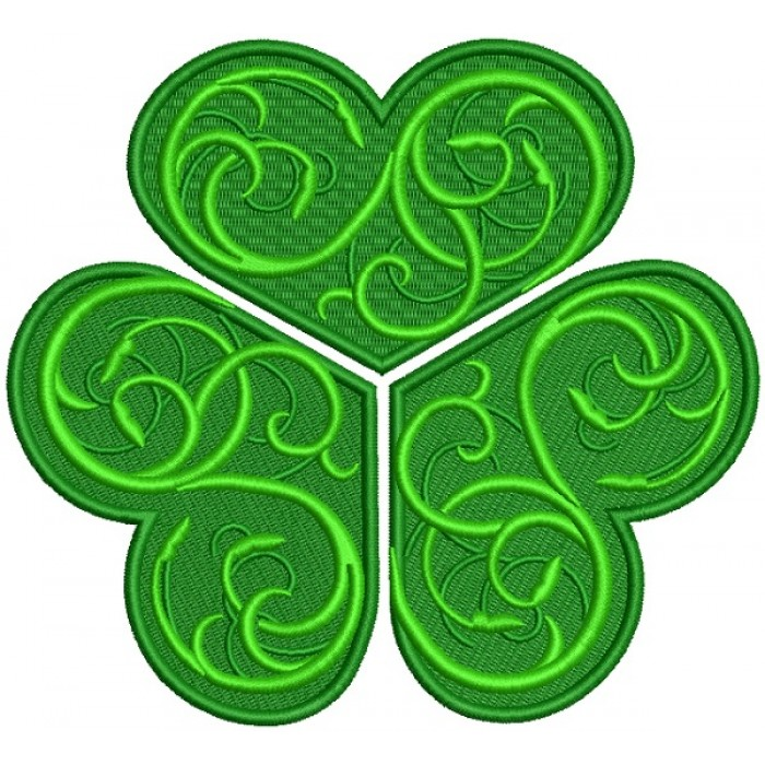 Ornate Vines Shemrock St. Patrick's Day Filled Machine Embroidery Design Digitized Pattern