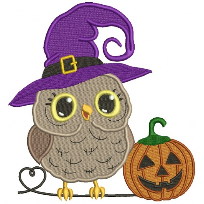 Owl Waering Witch Hat With Pumpkin Halloween Filled Machine Embroidery Design Digitized Pattern