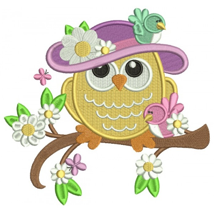 Owl Wearing Big Hat With Flowers Filled Machine Embroidery Design Digitized Pattern