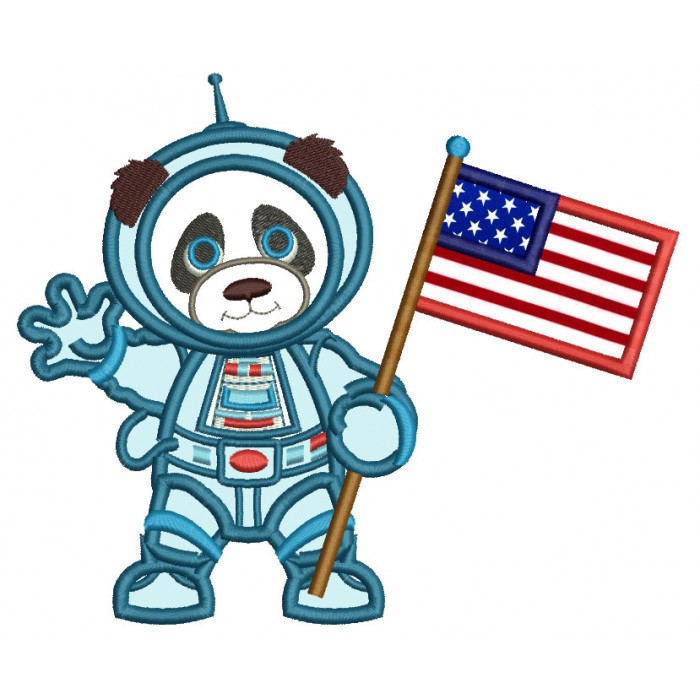 Panda Astronaut With American Flag Applique Machine Embroidery Design Digitized Pattern