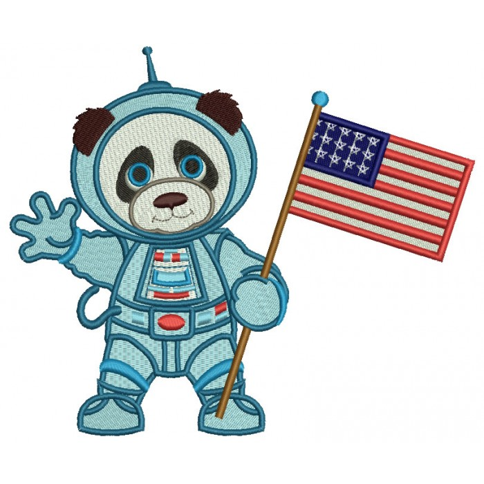 Panda Astronaut With American Flag Filled Machine Embroidery Design Digitized Pattern