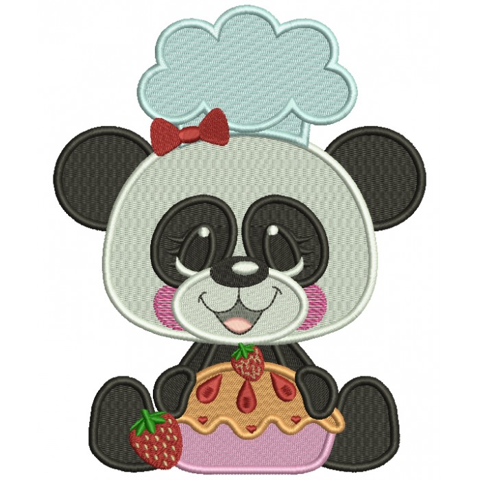 Panda Cook With Cherry Pie Filled Machine Embroidery Design Digitized Pattern