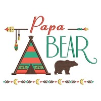 Papa Bear Tribal Applique Machine Embroidery Design Digitized Pattern