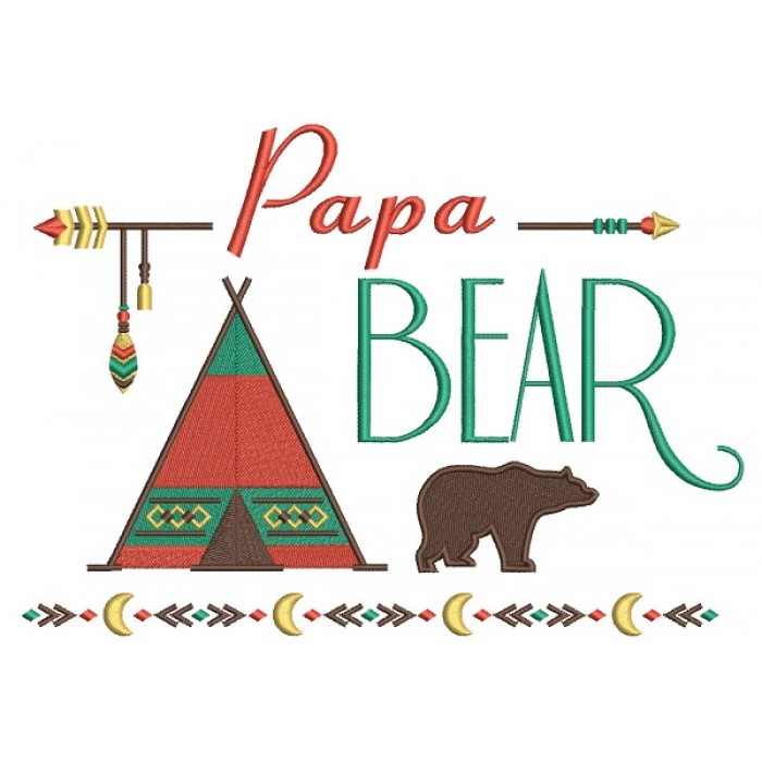 Papa Bear Tribal Filled Machine Embroidery Design Digitized Pattern