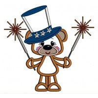 Patriotic Bear Holding Firecrackers Applique Machine Embroidery Design Digitized Pattern
