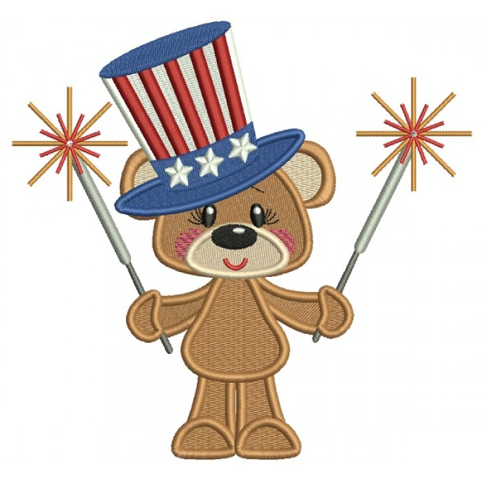 Patriotic Bear Holding Firecrackers Filled Machine Embroidery Design Digitized Pattern