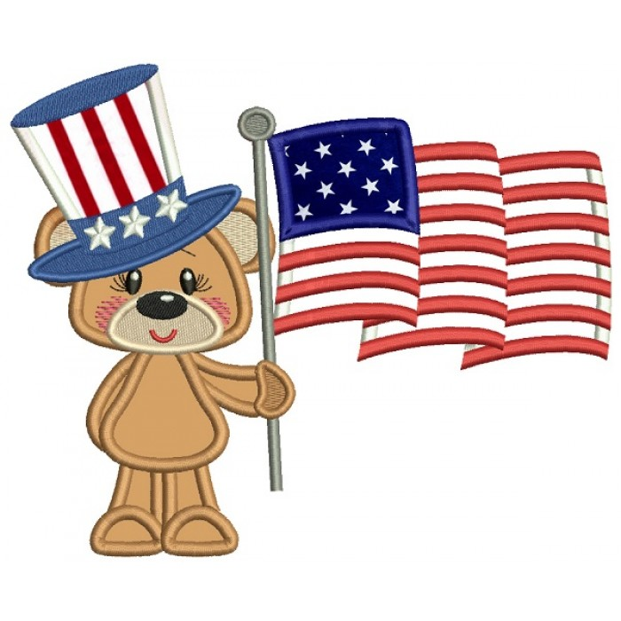 Patriotic Bear With An American Flag Applique Machine Embroidery Design Digitized Pattern
