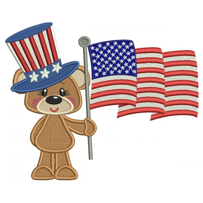 Patriotic Bear With An American Flag Filled Machine Embroidery Design Digitized Pattern