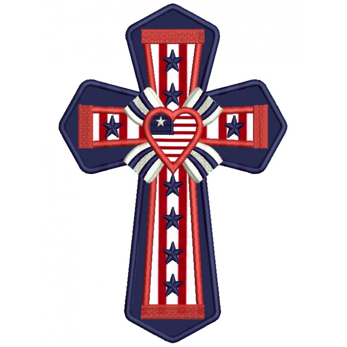 Patriotic Cross With a Heart Applique Machine Embroidery Design Digitized Pattern