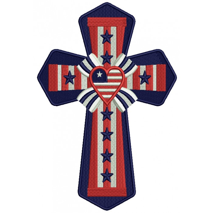 patriotic cross with a heart filled machine embroidery design