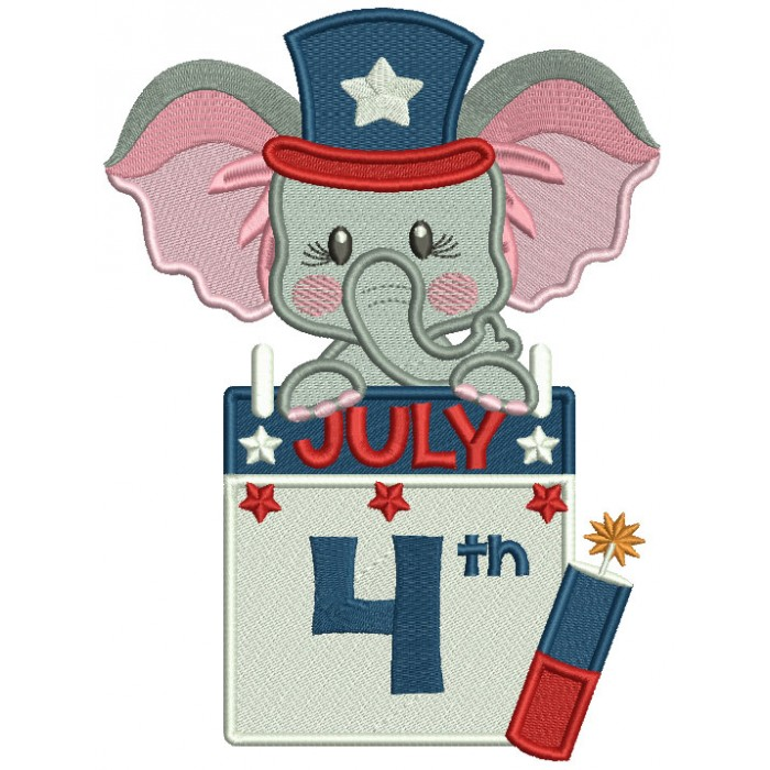 Patriotic Elephant 4th Of July Filled Machine Embroidery Design Digitized Pattern