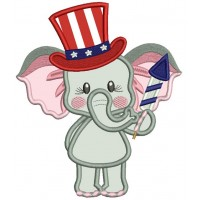 Patriotic Elephant Holding Firecracker Applique Machine Embroidery Design Digitized Pattern