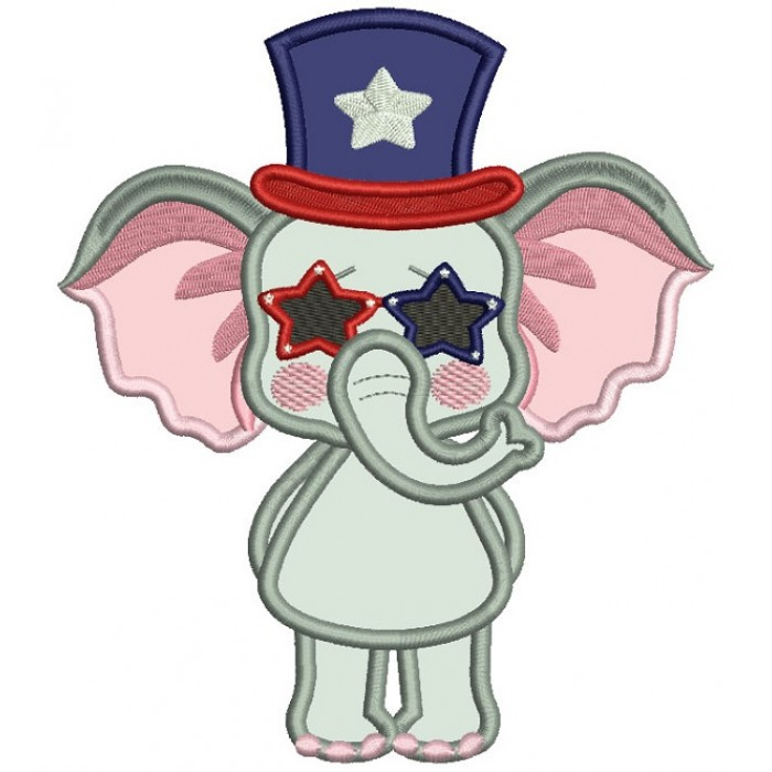 Patriotic Elephant Wearing USA Hat Applique Machine Embroidery Design Digitized Pattern