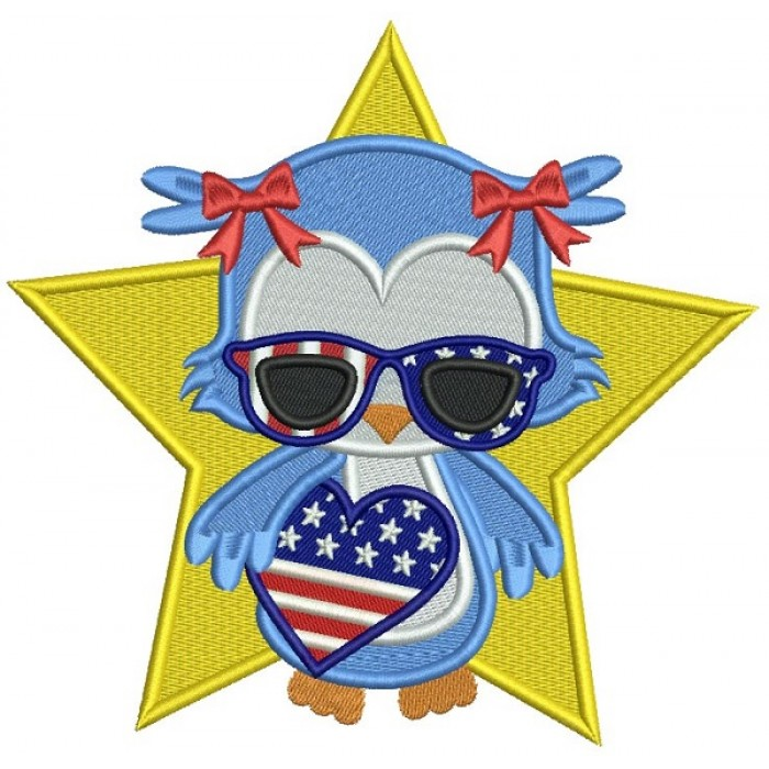 Patriotic Owl Independence Day Holding USA Flag Heart Filled Machine Embroidery Design Digitized Pattern