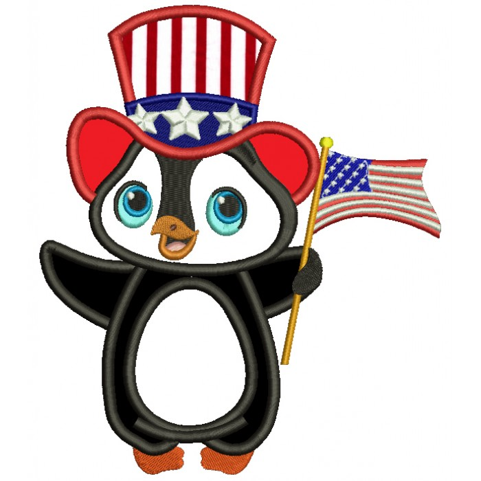 Patriotic Penguin Wearing USA Hat and Flag Applique Machine Embroidery Design Digitized Pattern