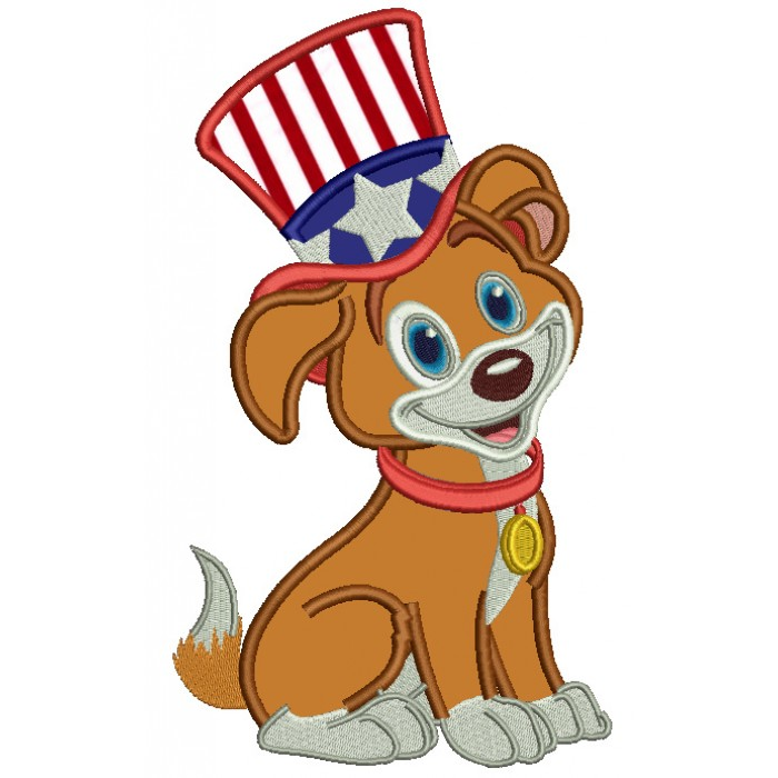 Patriotic Puppy Wearing USA Hat Applique Machine Embroidery Design Digitized Pattern