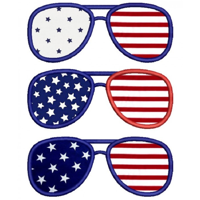 Patriotic Sunglasses USA Applique Machine Embroidery Design Digitized Pattern