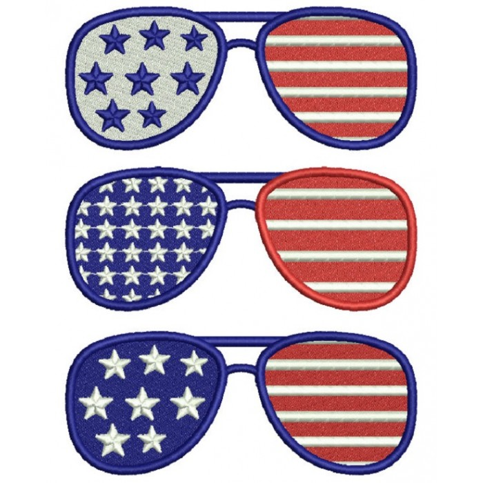 Patriotic Sunglasses USA Filled Machine Embroidery Design Digitized Pattern