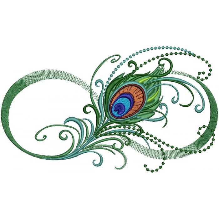 Peacock Feather With Fade-away Effect Bird Filled Machine Embroidery Design  Digitized Pattern