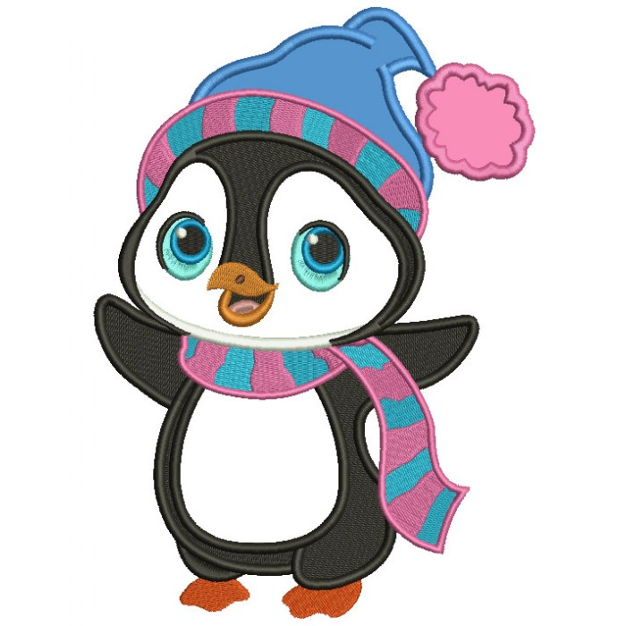 penguin wearing winter scarf christmas applique machine embroidery design digitized pattern - Christmas Applique Designs