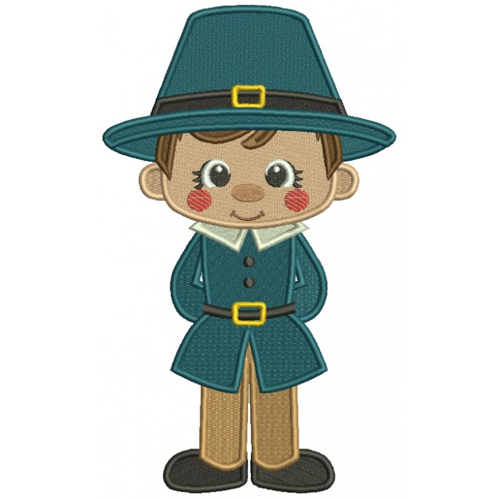 Pilgrim Boy Soldier Thanksgiving Filled Machine Embroidery Design Digitized Pattern