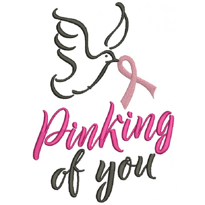 Pinking Of You Breast Cancer Awareness Dove Filled Machine Embroidery Design Digitized Pattern