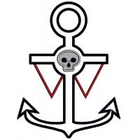 Pirate Anchor With a Skull Applique Machine Embroidery Design Digitized Pattern