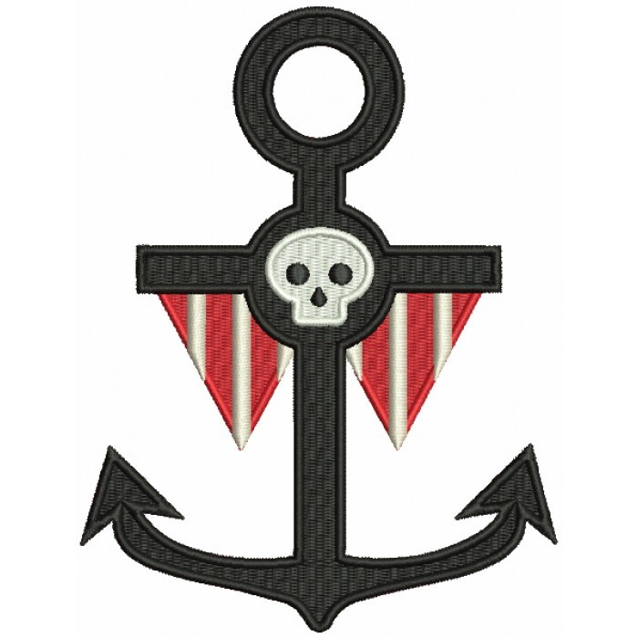 Pirate Anchor With a Skull Filled Machine Embroidery Design Digitized Pattern