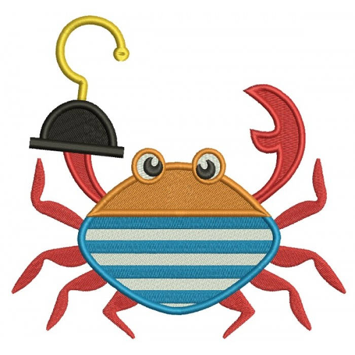 Pirate Crab Filled Machine Embroidery Design Digitized Pattern